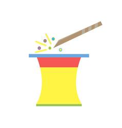magic hat magician wand icon art cartoon isolated vector image