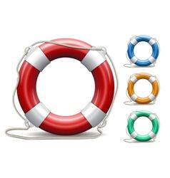 Set of life buoys on white background vector image
