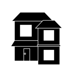 silhouette home two floor out windows brown roof vector image