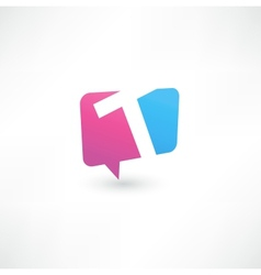 Abstract bubble icon based on the letter T vector image