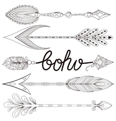 Bohemian Arrows set with henna feathers Hand vector image vector image