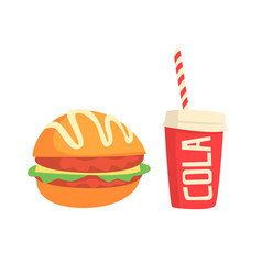 burger and cola fast food products colorful vector image
