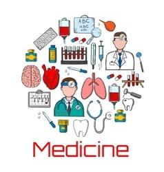 General medicine and healthcare sketches vector image vector image