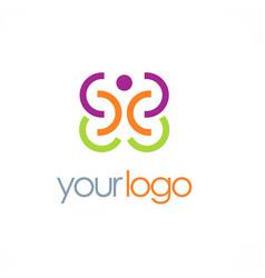 happy man round logo vector image