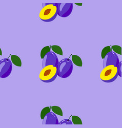 seamless pattern with ripe tasty plum vector image vector image