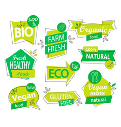 set of bio eco organic stickers or logos vector image vector image