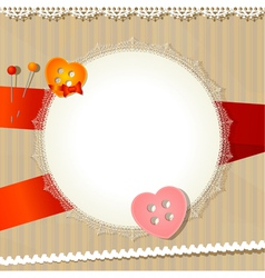 Vintage background with lace cloth and buttons vector image