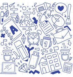 08-09-075 hand drawn set school icons vector