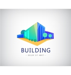 3d building logo business office icon vector