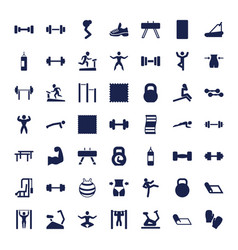 49 gym icons vector