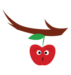 A surprised red apple is hanging from branch vector