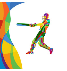 Abstract cricket player bright color vector