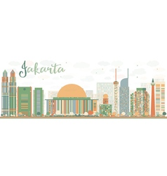 Abstract Jakarta skyline with color landmarks vector image