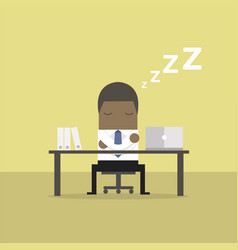 african businessman sleeping at works flat design vector image