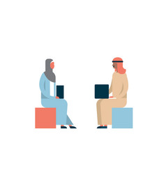 arab couple sitting using laptop business meeting vector image