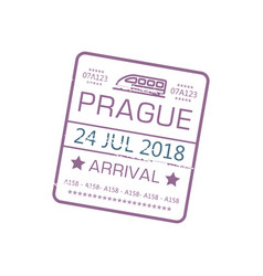 arrival visa stamp to prague on train isolated vector image