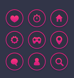 basic web icons set favourite contact us vector image