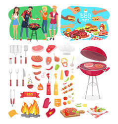 Bbq party posters and icons vector