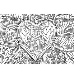beautiful coloring book page with heart shape vector image