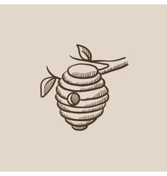 Bee hive sketch icon vector