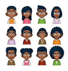 Black african american or hindu people avatar vector
