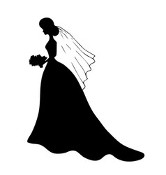 Black silhouette young girl in wedding dress vector