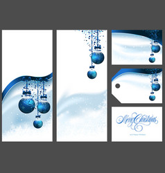 blue christmas greetings set vector image