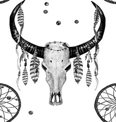 Buffalo Skull Dreamcatcher Feather BW pattern vector image