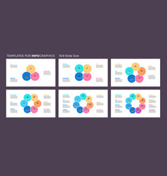 business infographics pie charts with 3 - 8 steps vector image