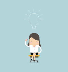 businesswoman lost her idea with empty light bulb vector image