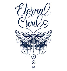 Butterfly decorated calligraphy eternal soultatto vector