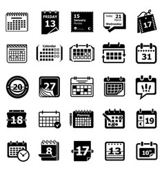 calendar schedule planner icons set simple style vector image