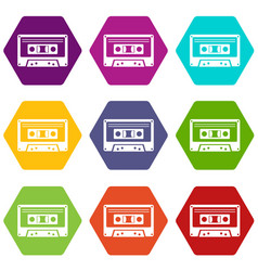 cassette tape icon set color hexahedron vector image