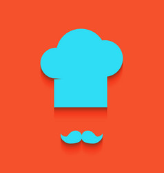 chef hat and moustache sign whitish icon vector image