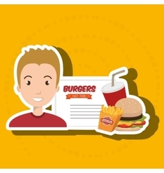 Child cartoon man fast food vector