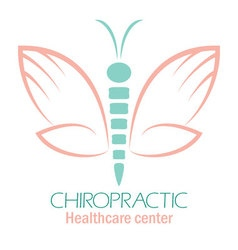 Chiropractic clinic logo with butterfly symbol of vector