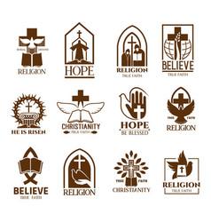 Christian church parish or community icons vector