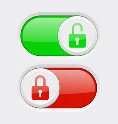 Closed and open buttons toggle switch red and vector