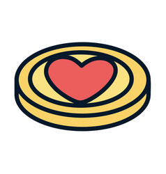 coin heart love help charity and donation vector image
