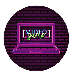 computer gadget neon video game wall vector image