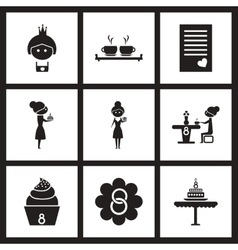 Concept flat icons in black and white women Day vector