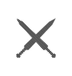 Crossed gladius swords sign vector