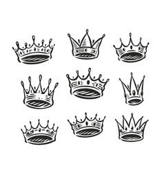 crown symbol set royal luxury icon coronation vector image