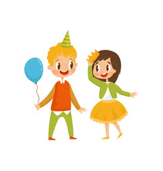 cute girl and boy at birthday party boy in party vector image