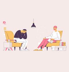depressed man during psychotherapist consultation vector image