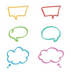 doodle hand drawn colorful speech bubbles set vector image