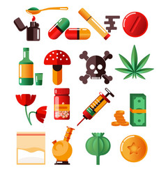 Drugs addiction marijuana and heroine cocaine and vector