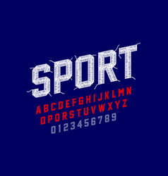 embroidery font sports style stitched with thread vector image