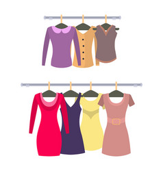 Female stylish tops and dresses hang on racks set vector