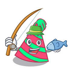 Fishing party hat mascot cartoon vector